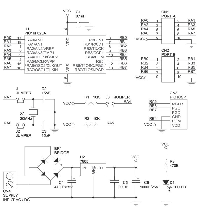 18pin-pic-development-board-schematic