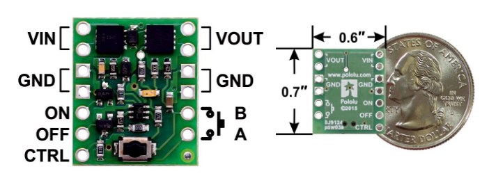 Mini Pushbutton Power Switch Board and Dimensions
