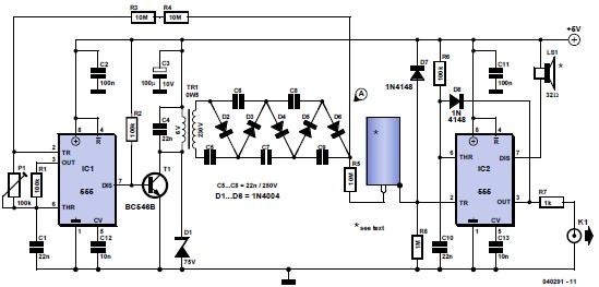 Geiger counter using 555 timer ICs