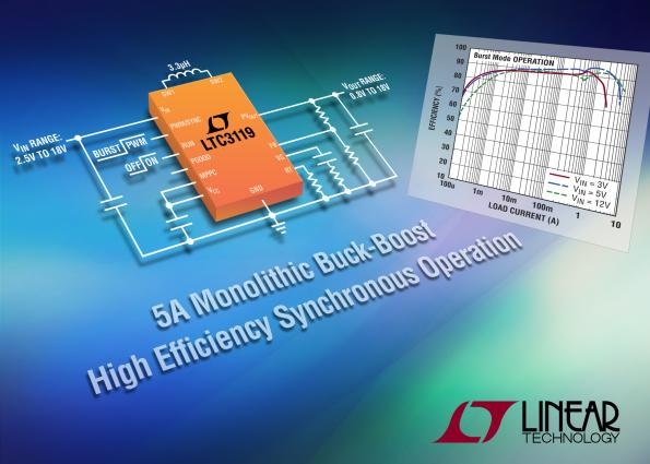 18V, 5A buck-boost DC/DC delivers 95% efficiency