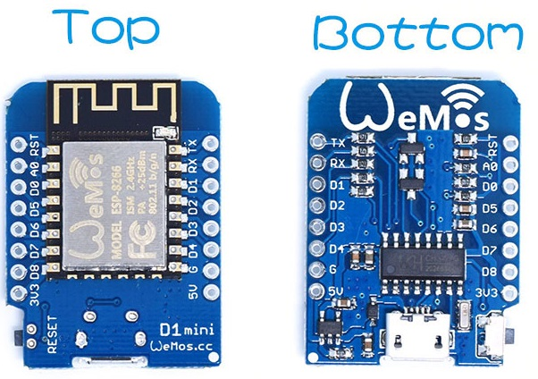 WeMos D1 mini top and bottom faces