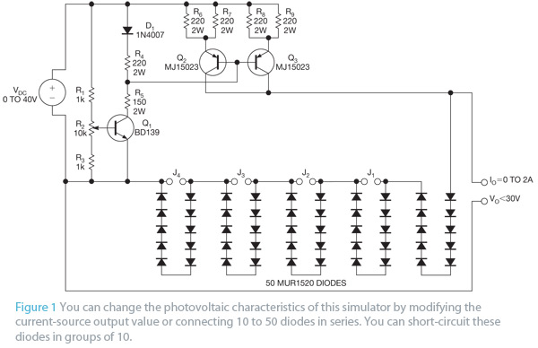 Circuit implements photovoltaic-module simulator