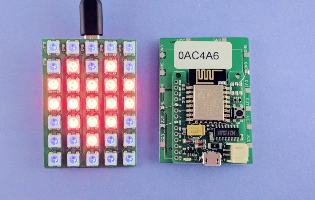 WiFi-enabled Color LED Matrix using ESP8266 and WS2812 LEDs