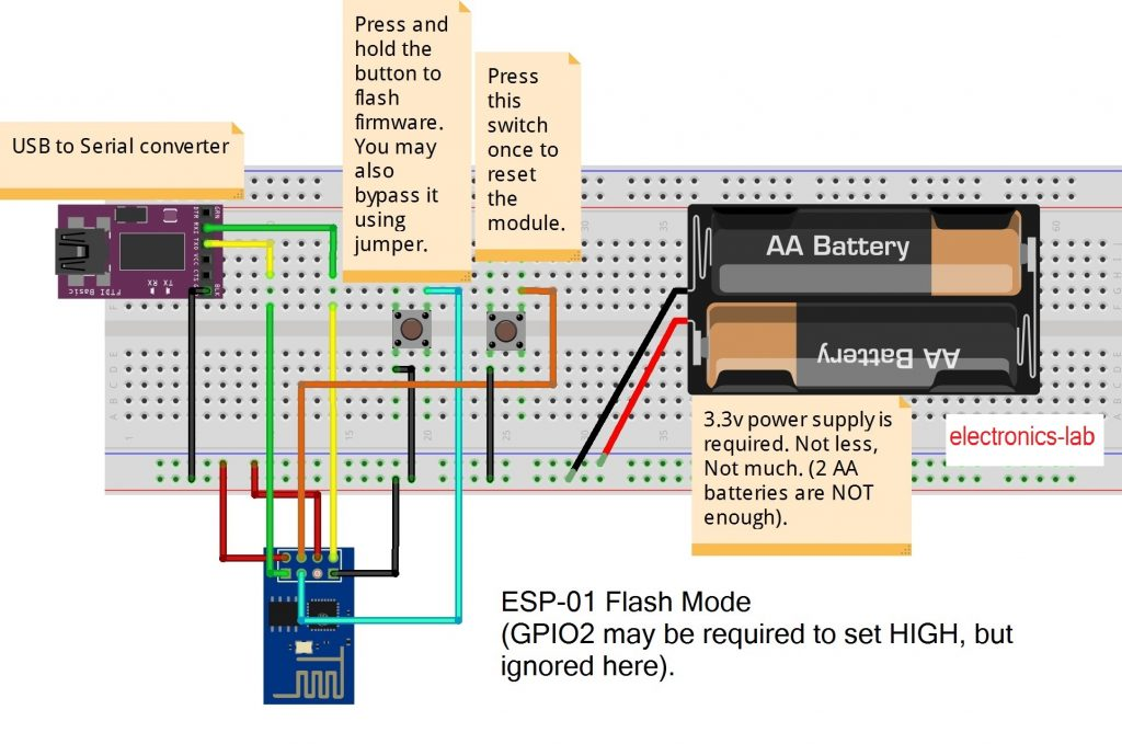 ESP8266-01 wiring for uploading program