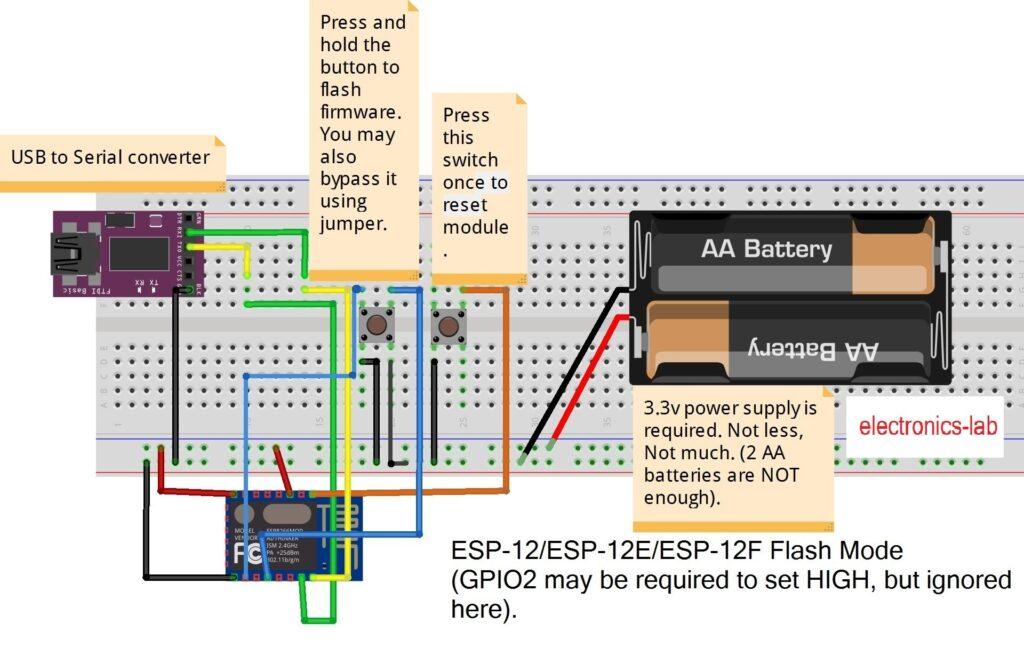 ESP8266-12E wiring for uploading program