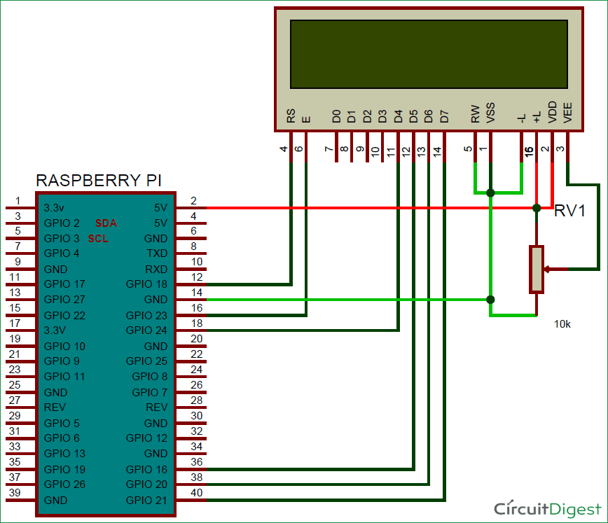 Circuit Diagram of Web Controlled Notice Board Using Raspberry Pi 3