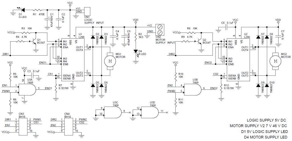 2x L298 Dual Dc Motor Driver Board For Robots