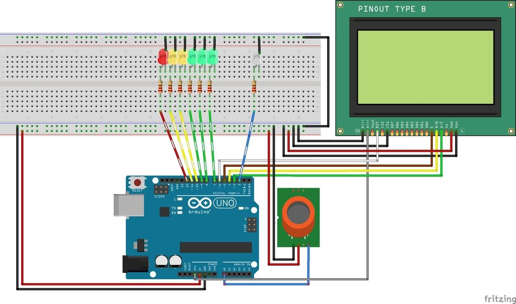 Breathalyzer Circuit On Breadboard