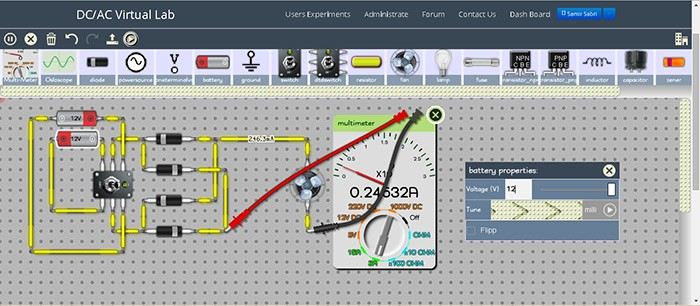 DC/AC Virtual Lab online circuit simulator
