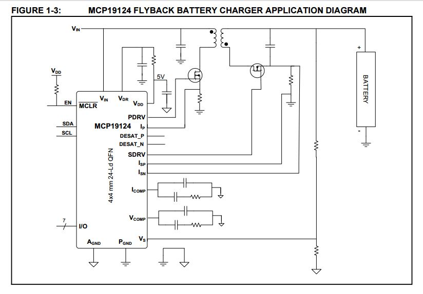 Battery Charger Circuit Using MCP19124 ICBattery Charger Circuit Using MCP19124 IC