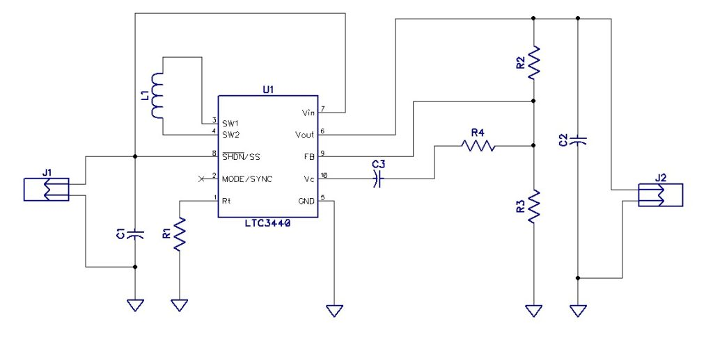 2.7V-4.2V input to 3.3V – 0.6A output Buck-Boost Converter using LTC3440