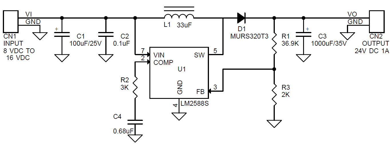 12v to 24v 1a booster using lm2588 fly-back regulator