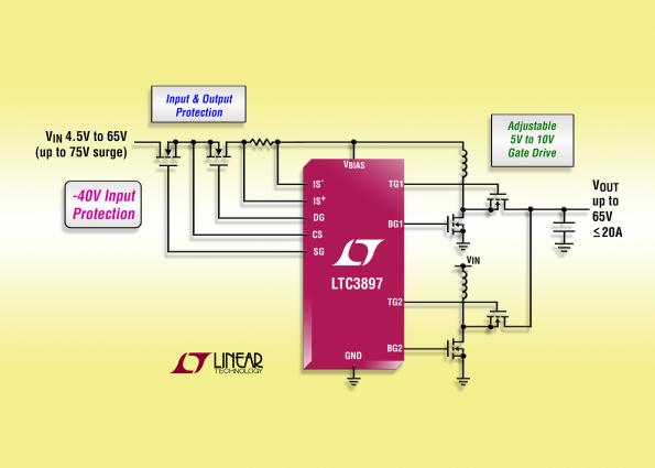 Multiphase, 60V synchronous boost controller peaks at 97%