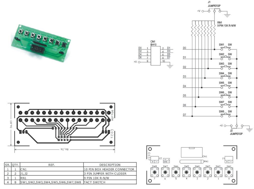 8 tactile switch board with high  u0026 low outputs