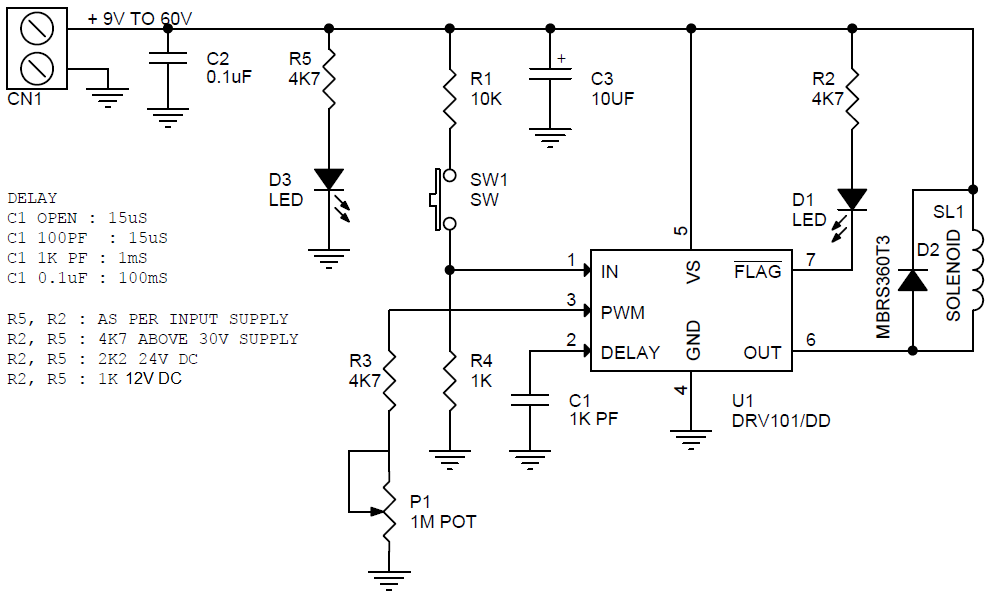 9V to 60V PWM 2 3A Solenoid Valve Driver using DRV101