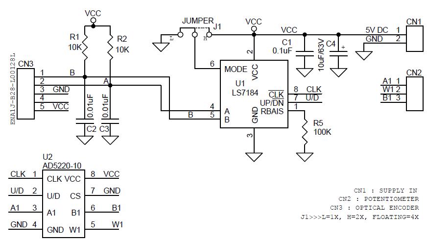 DIGITAL-POTENTIOMETER-USING-OPTICAL-ENCODER-SCHEMATIC