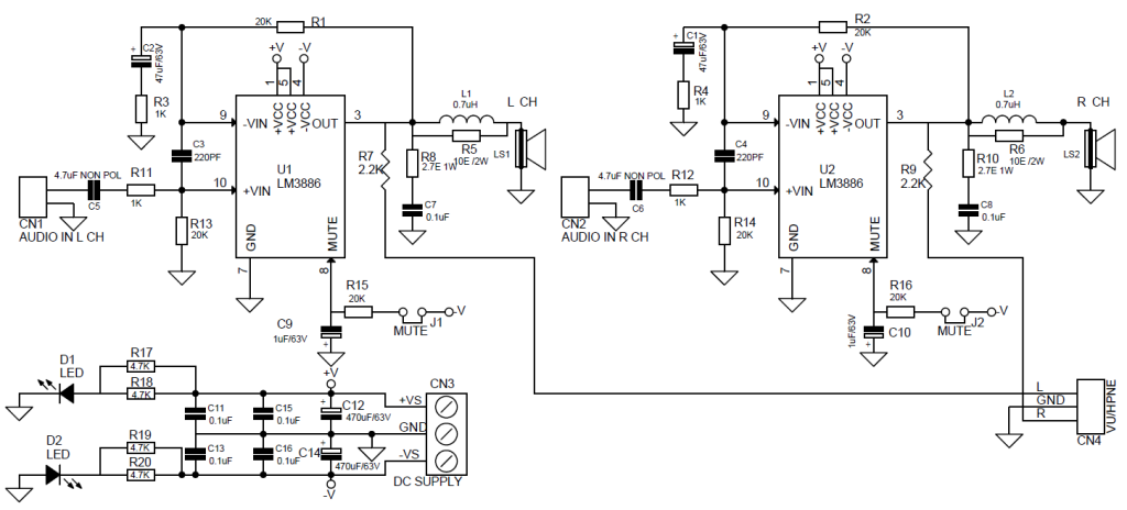 high performance stereo audio amplifier using lm3886