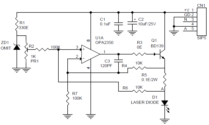 [ZTBE_9966]  Constant Current Laser Diode Driver Circuit Using OPA2350 OpAmp -  Electronics-Lab | Laser Diode Wiring Diagram |  | Electronics-Lab