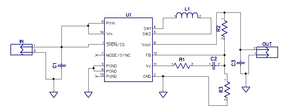 2.5V-4.2V input to 3.3V output – 1A Buck Boost Converter using LTC3441