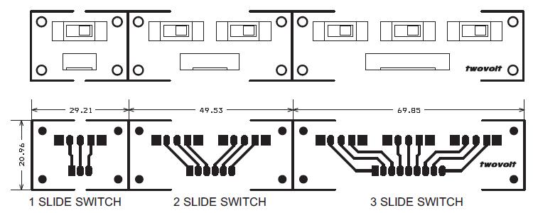 slide switch single  dual  u0026 three pcbs
