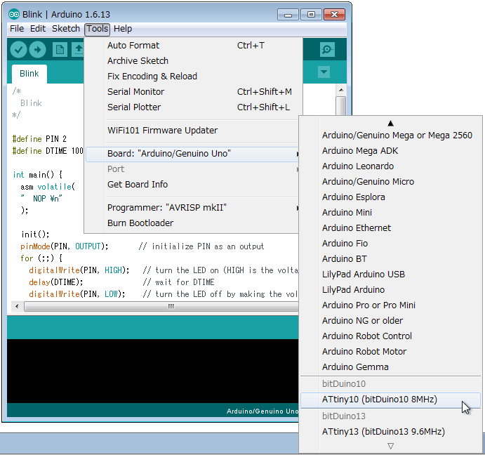 Develop environment of ATtiny10/13 under Arduino IDE