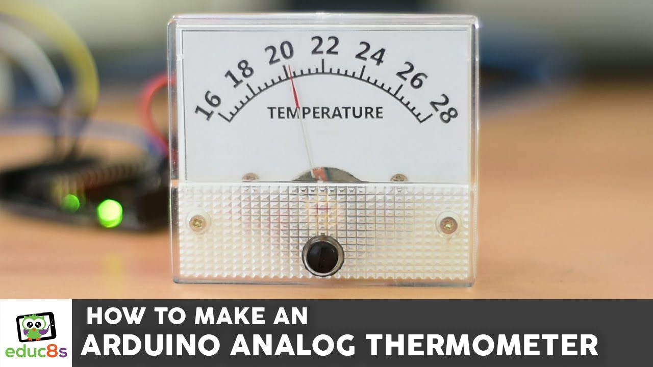 How to make an analog Thermometer with Arduino a DS18B20 and an analog Voltmeter