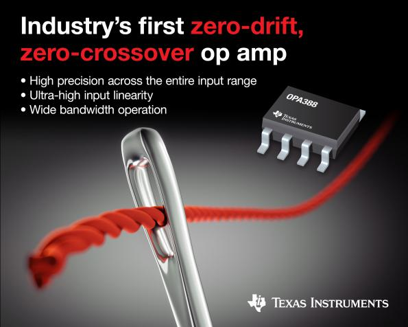 TI claims first for zero-drift, zero-crossover op amp: precision & linearity