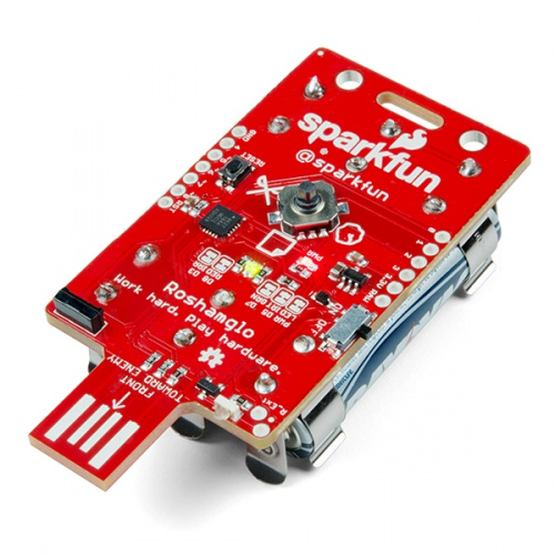 Roshamglo Badge, The Rock-Paper-Scissors kit by SparkFun