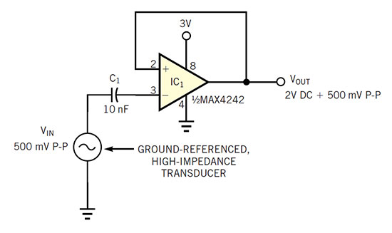 Amplifier requires no dc bias