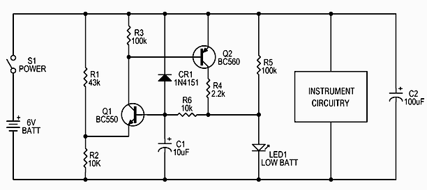Simple circuit indicates a low battery