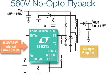 LT8315 – 560VIN Micropower No-Opto Isolated Flyback Converter
