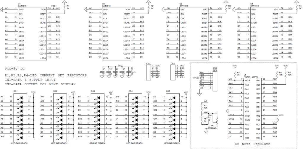 50 segment serial bar-graph display driver