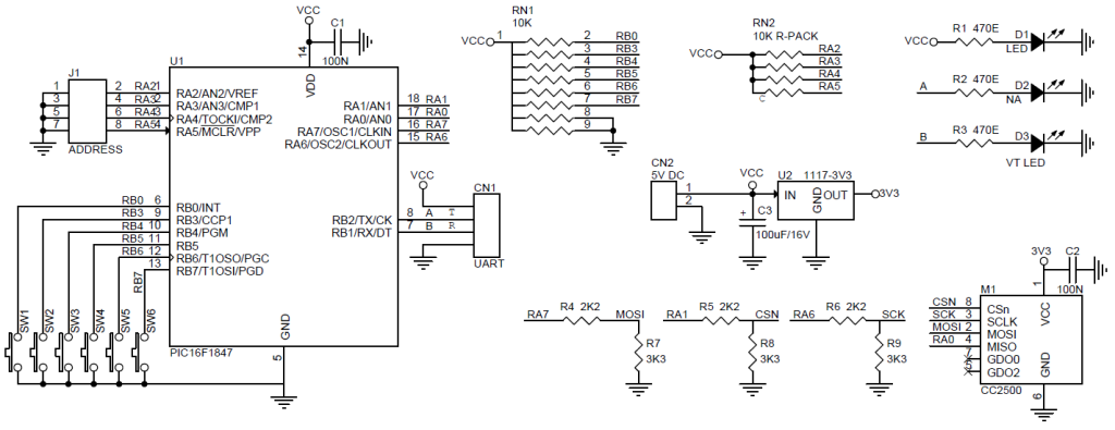 6 Channel RF Remote Controller Using CC2500 RF Modules