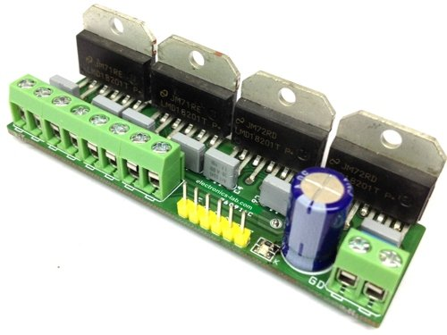 4 Wheel Robot Motor Driver ( 4X 3Amps LMD18201 H-Bridge)