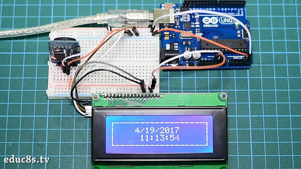 Real Time Clock On 20x4 I2c Lcd Display With Arduino Electronics Lab Topic How To Control Very Really High Currents Now We Will Use The Rtc Module Print Current Date And Each Of Them In A Line Dashed Border Around