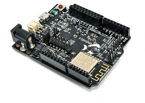 A 32-BIT FISHINO board with WiFi, SD card, RTC, audio codec, LiPo and more