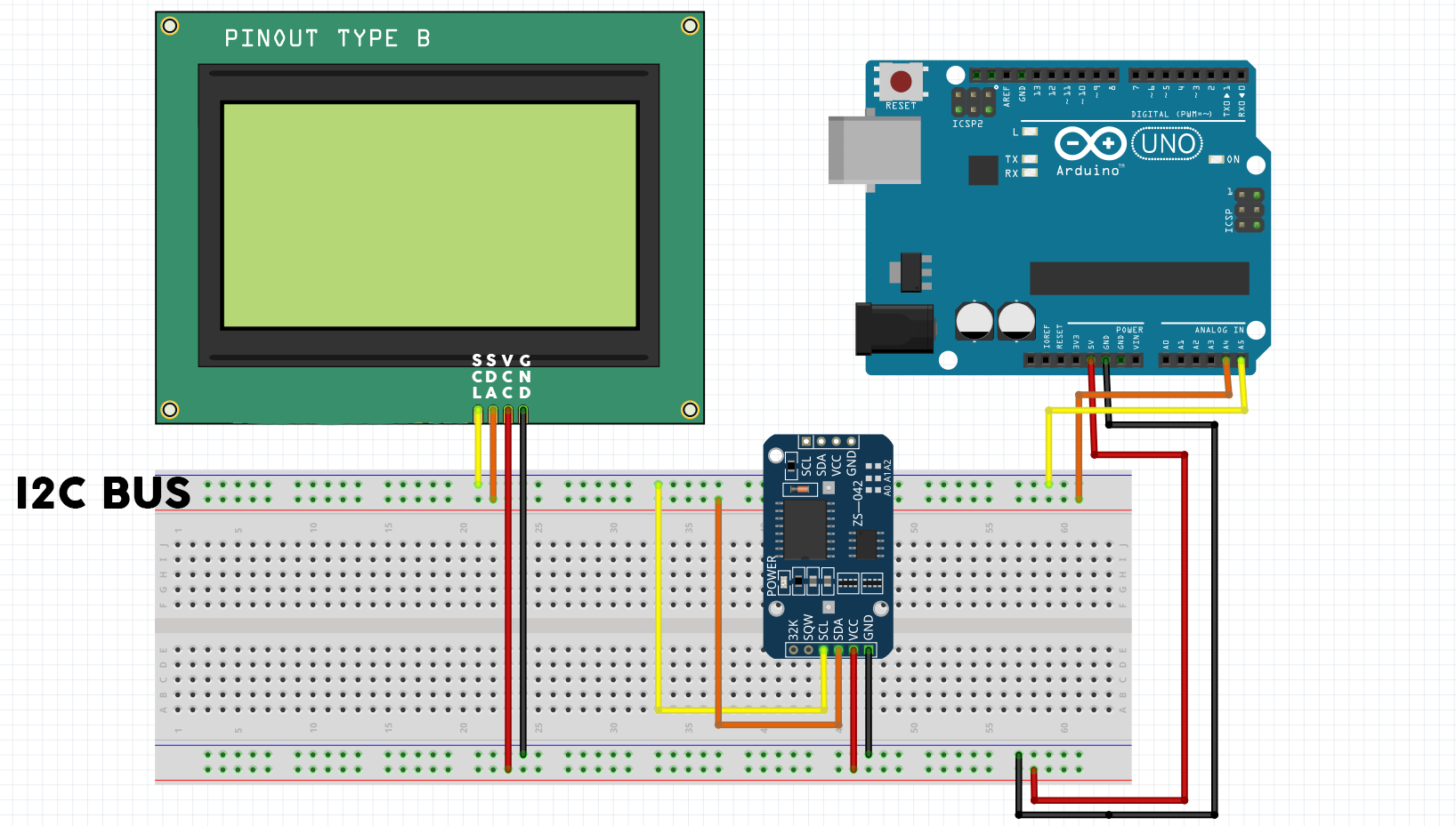 Real Time Clock On 20x4 I2C LCD Display with Arduino - Electronics-Lab