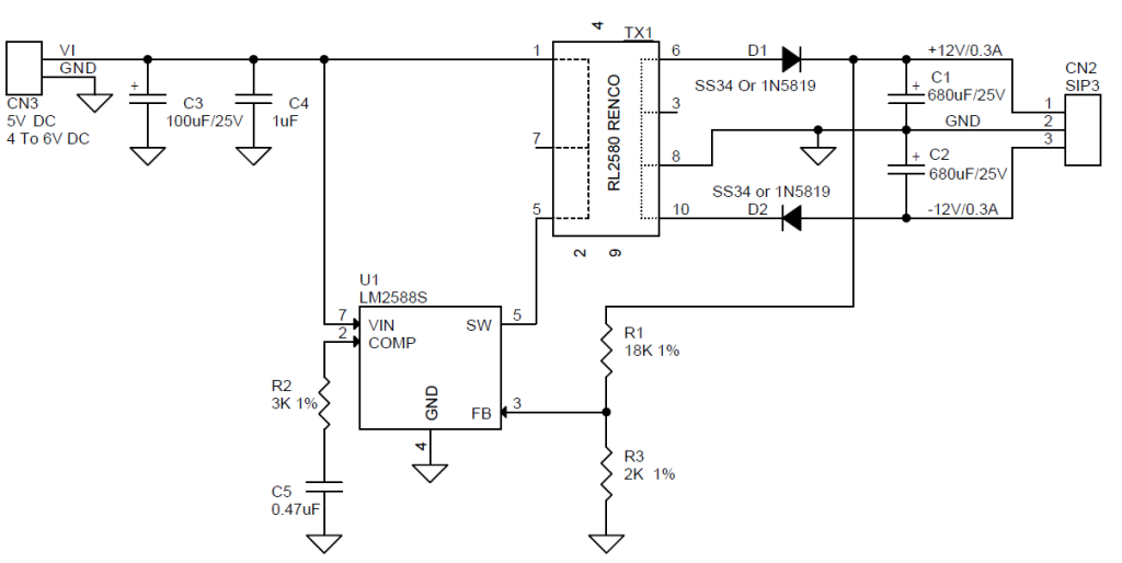 5V to Dual 12V Step Up DC-DC Converter Using LM2588-ADJ ... Dc Converter Schematic on