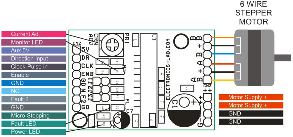 unipolar stepper motor driver electronics lab