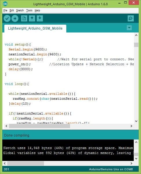 compile and upload the sketch using Arduino IDE