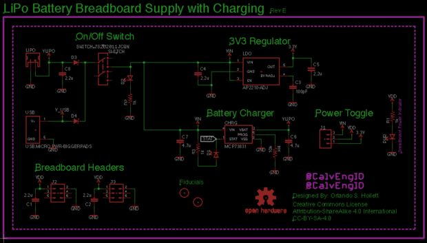 LiPo breadboard power supply schematic