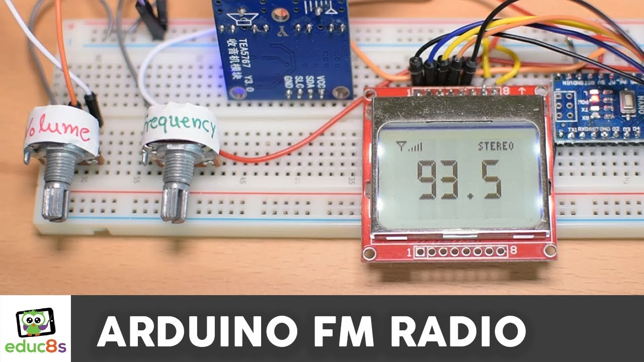 Arduino FM Radio Project with TEA5767 Radio Module and a Nokia 5110 LCD Display