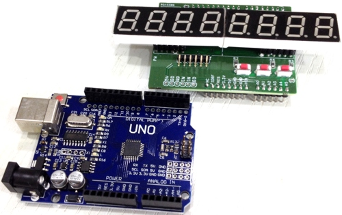 8 Digit Numerical 7 Segment SPI Display Shield for Arduino UNO