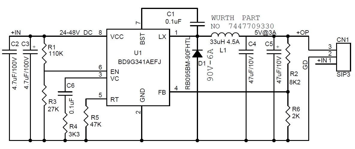 24 48v to 5v 3a dc dc converter electronics lab schematic ccuart Images