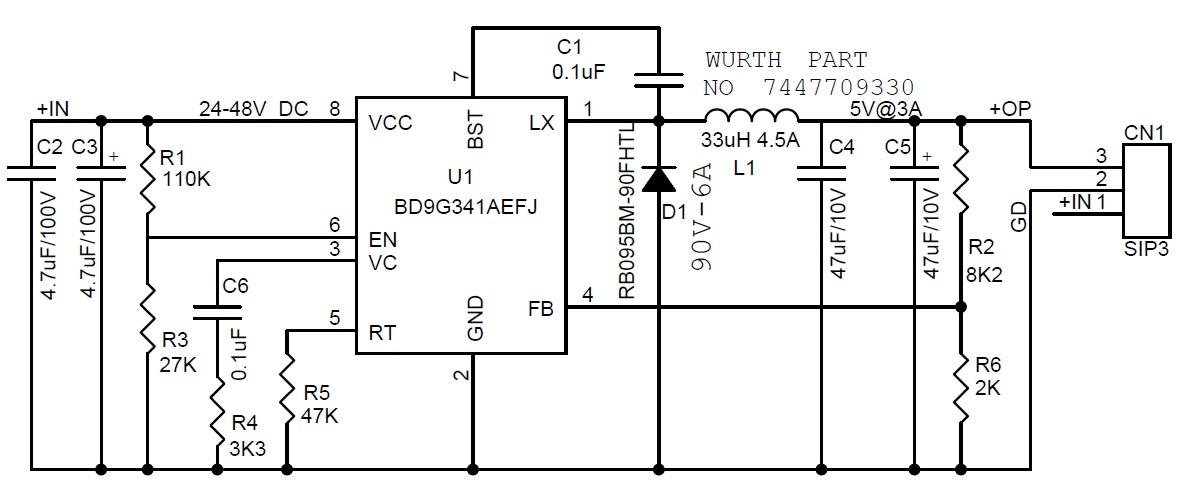 24-48V to 5V - 3A DC-DC Converter - Electronics-Lab on