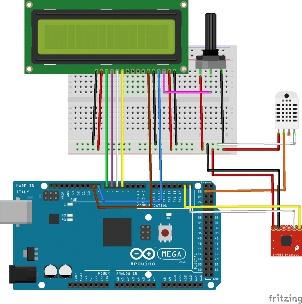Arduino weather station with dht and bmp