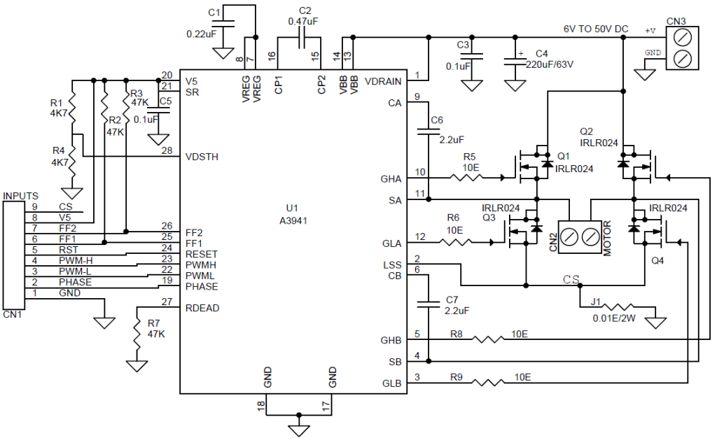 50v - 10a bidirectional dc motor driver using a3941
