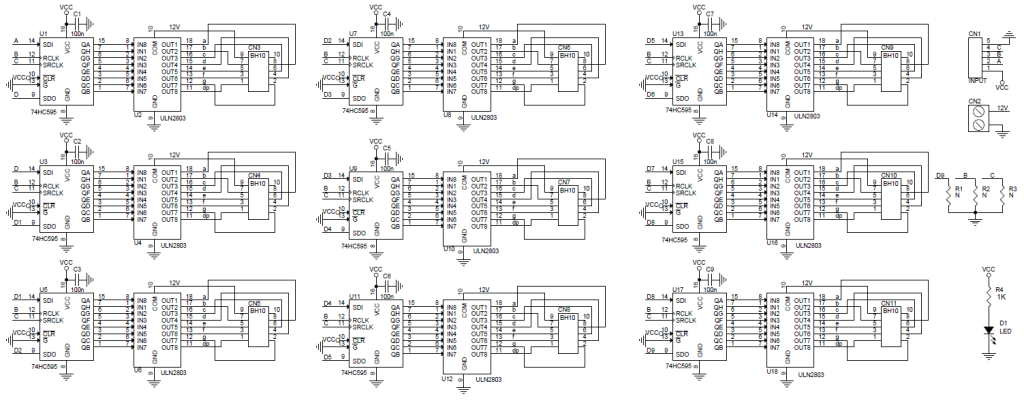 72 Channels Serial To Parallel Driver Board Using 74HC595 & ULN2803 on max232 schematic, lm317 schematic, relay driver circuit schematic, abb robot schematic,