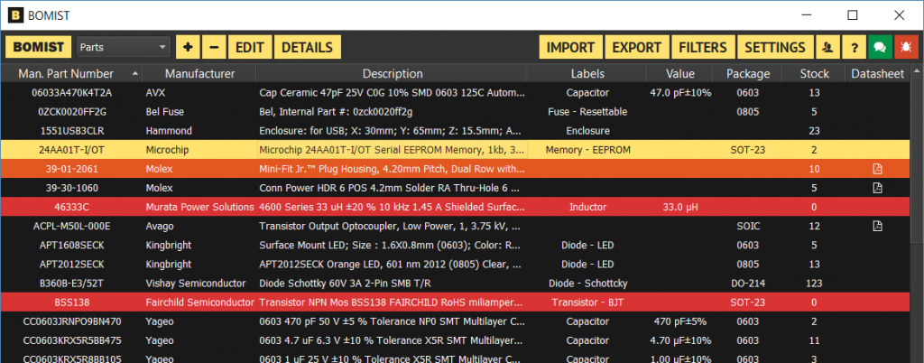 Bomist – Parts Inventory and BOM Management for Electronics