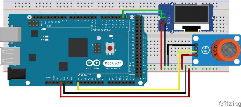 Arduino Breathalyzer Using MQ3 Gas sensor and OLED Display